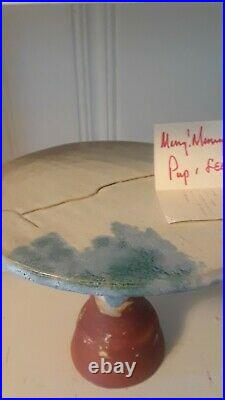 McCartys Pottery Cake Plate / Pedestal Plate with Xmas Greeting from Pup PERFECT