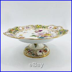 Meissen Crossed Swords Reticulated Pedestal Cake Plate Colorful Flowers & Gold