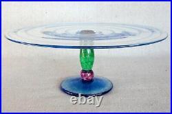 Melanie Guernsey Leppla Handcrafed Studio Art Glass Pedestal Cake Plate Stand