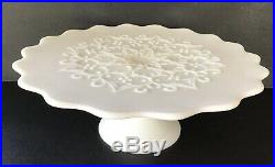 Milk Glass Cake Plate Fenton Spanish Lace White 13 Pedestal Cake Plate Vintage