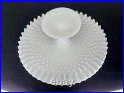 Milk Glass Fenton Hobnail Pedestal Cake Plate / Stand Ruffled Edge 13