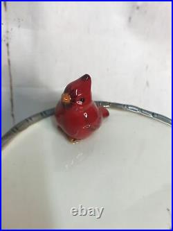 Mini CAKE STAND PLATE Pedestal Twig Border Cardinal Tree Red Berries Red Bird 7