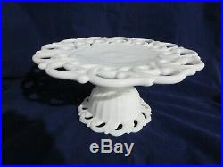 Monroe Milk Glass by Fostoria Pedestal Cake Plate 11