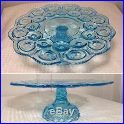Moon & Stars Light Aqua Blue CAKE PLATE PEDESTAL STAND L. G. Wright Fenton Glass