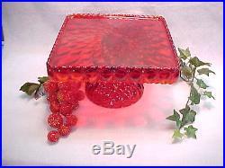 Mosser Red 10 inch Square Elizabeth Pedestal Cake Plate