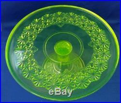 Mosser Vaseline Glass Daisy & Button Queen Pattern Pedestal Cake Plate 9.5 x 5