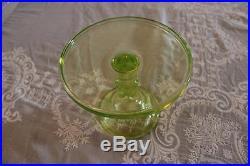 Mosser Vaseline Uranium Glass Small Cake Candy Plate Pedestal Yellow Green