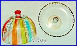 Multi-Color Striped Gold Art Glass Dome Covered Cake Pedestal Stand Plate #5377