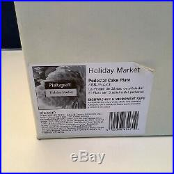 NEW IN BOX Pfaltzgraff Holiday Market Pedestal Cake Plate + Serving Utensil