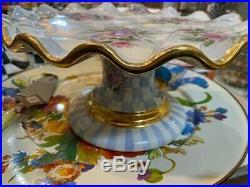 NEW! Mackenzie-Childs Blue Honeymoon Pedestal Ruffled Cake Plate Handmade RARE