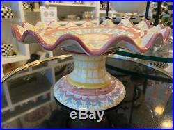 NEW! Mackenzie-Childs Madison Taylor Pedestal Ruffled Cake Plate Handmade