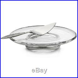 NEW Nambe Braid Pedestal Cake Plate with Server