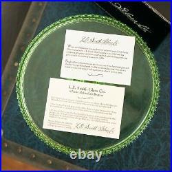 NIB Vintage L. E. Smith Glass Green Hobnail Cake Stand Plate Pedestal MINT