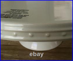 NORA FLEMING Stoneware Ivory PEARL DOT 12 Pedestal Cake Serving Plate