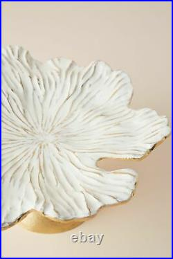 NWT Anthropologie Gold White Enamel Loretta Cake Stand Plate Desserts Pedestal