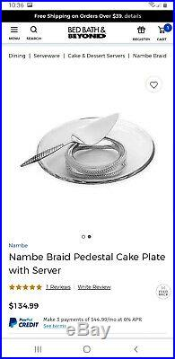 Nambe Braid Pedestal Cake Plate with Server