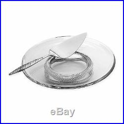 Nambe Braid Pedestal Cake Plate with Server #MT0913