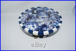 New ANNIE MODICA Imari Blue and White Pedestal Cheese Cake Serving Stand Plate