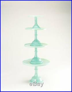 New! Jadeite/Jadite Green 9 Pedestal Cake Stand Plate Mosser 2409J