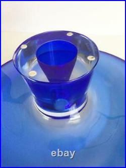 New Kosta Boda Sweden Cobalt Blue Pedestal Zoom Cake Plate Goran Warff