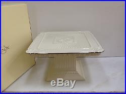 New LENOX CAKE PLATE PEDESTAL SERVER Large Ivory China & Platinum MIB Wedding