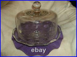 New Princess House Heritage 076 Pedestal Cake Plate & Dome LID Serving 12-1/2