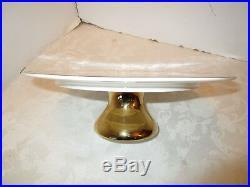 Nicole Miller Porcelain Pedestal Cake Plate Cream & Gold Metallic Polka dots 12