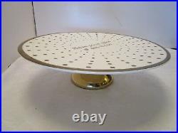 Nicole Miller Porcelain Pedestal Cake Plate Ivory Gold Polka dots 12 across