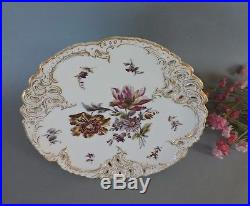 Nymphenburg/ Meissen type reticulated Pedestal Cake Plate hand painted flowers