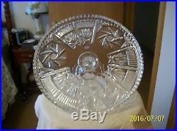 Ofnah Vintage Polish Crystal Pinwheel & Fan Cut Glass Pedestal Large Cake Plate