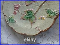 Old Antique Majolica Pottery Pink Blossoms Leaves Butterfly Pedestal Cake Stand