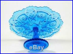Original Imperial Pedestal cake stand serving stand plate Saphire Blue with Stamp