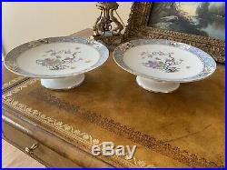PAIR 2 Lenox MING BIRDS Green BACKSTAMP Footed Cake Plate Vintage Pedestal Stand