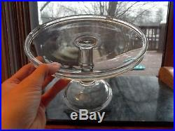 PEDESTAL CAKE STAND Plate Bakery Display SALVER cupcakes EAPG Antique GLASS #2