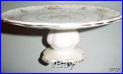 PETIT POINT Royal Albert PEDESTAL CAKE PLATE (s) Bone China, England EUC Rare