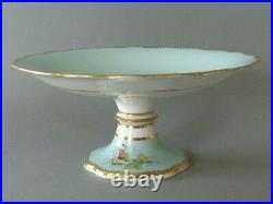 Pair (2) Footed Cake Plate Pedestal Stand Comport Tazzas Blue Floral Butterfly