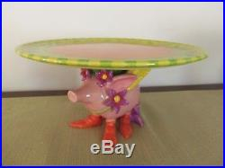 Patience Brewster Cake Plate/PedestalFlying Pig Design, with Frog Candle Holder