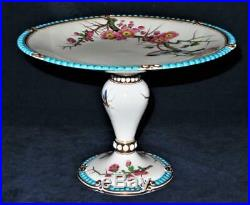 Pedestal Cake Plate Stand British Reg Feb 1863 Birds Flowers Insects Beaded Rim