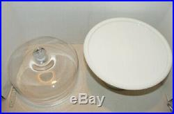 Pedestal Plain & Simple Cake Plate White Milk Glass with Clear Glass Dome Lid