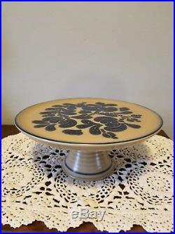 Pfaltzgraff Folk Art Pedestal Footed Cake Stand Plate Rare Hard To Find
