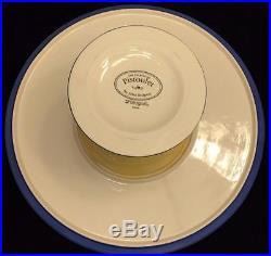 Pfaltzgraff PISTOULET Solitude Large Pedestal Cake Plate Platter Yellow Blue EUC