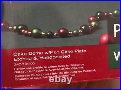Pfaltzgraff Winterberry Christmas Cake Dome Pedestal Plate Punch Bowl Hand Paint