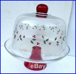 Pfaltzgraff Winterberry Christmas Cake Dome WithPedestal Cake Plate Hand-painted
