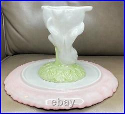Pier 1 Cake Stand Bunny Rabbit Easter Garden Pedestal Plate Pink Petaled Flower