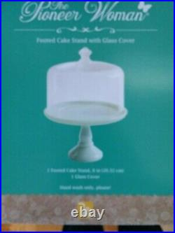 Pioneer Woman 8 Rare Cake Footed/ Pedestal Plate Jadeite Green With LID Nib