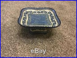 Polish Pottery pedestal server / cake plate -9.5 x 9.5x 4.5 tall- Excellent
