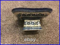 Polish Pottery pedestal server / cake plate -9.5 x 9.5x 4.5 tall- Excellent