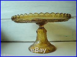Portieux Vallerystahl France amber glass pedestal cake plate chimeras
