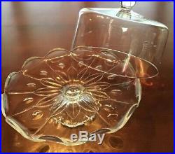 Princess House Crystal Cake Plate Pedestal 13 Round Scalloped Vintage 3 Tall