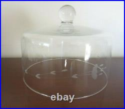 Princess House Crystal Pedestal Cake Plate with Dome Cover Heritage Pattern